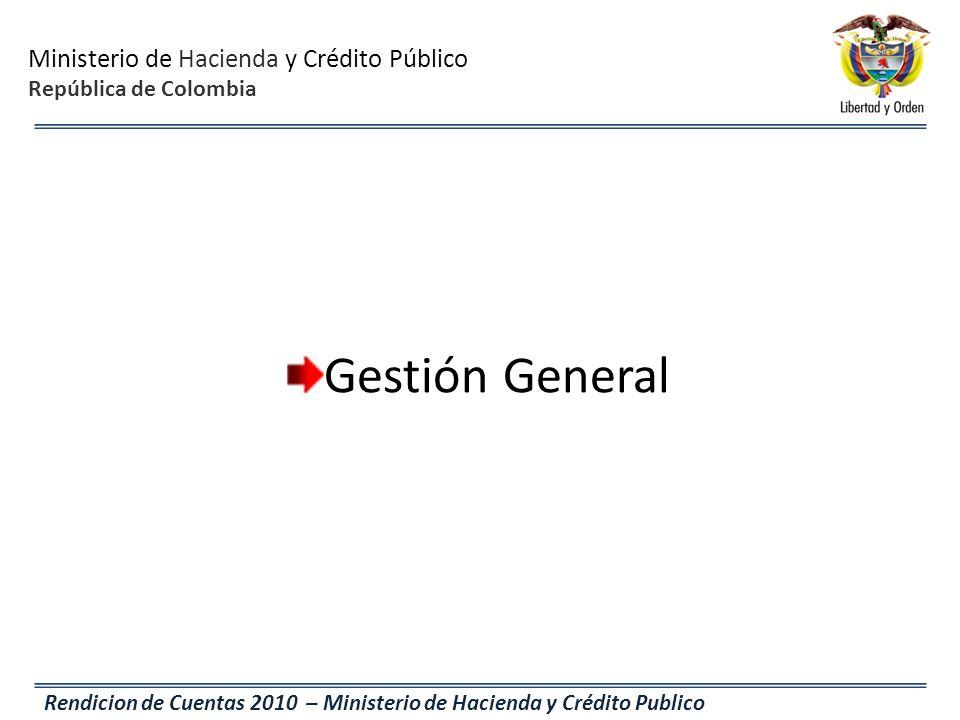 Ministerio de Hacienda y Crédito Público República de Colombia Rendicion de Cuentas 2010 – Ministerio de Hacienda y Crédito Publico Gestión General