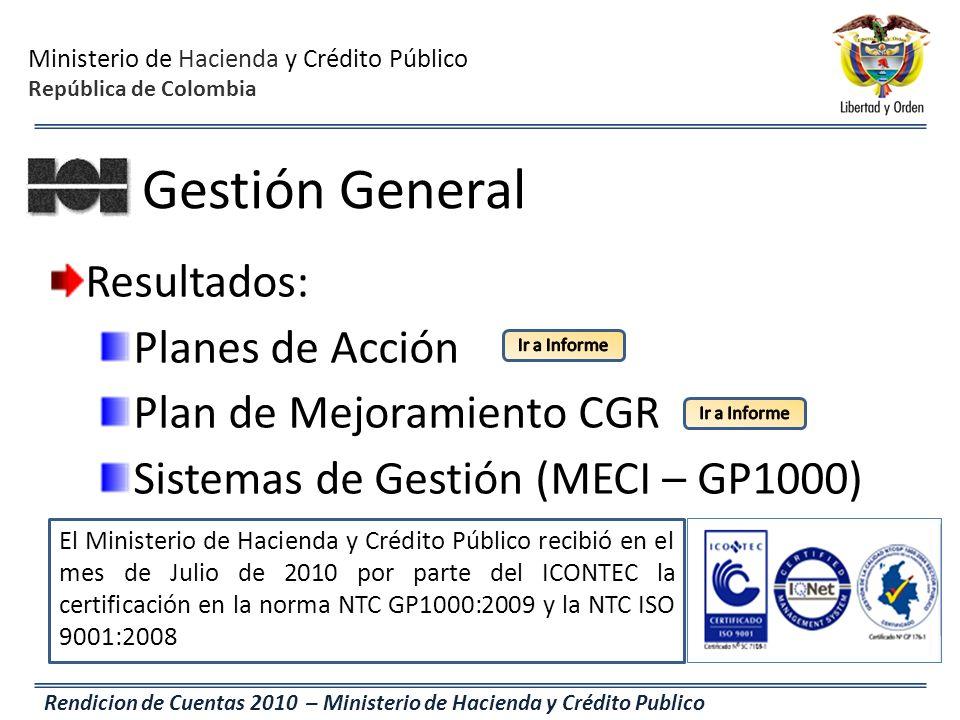 Ministerio de Hacienda y Crédito Público República de Colombia Rendicion de Cuentas 2010 – Ministerio de Hacienda y Crédito Publico Gestión General Re