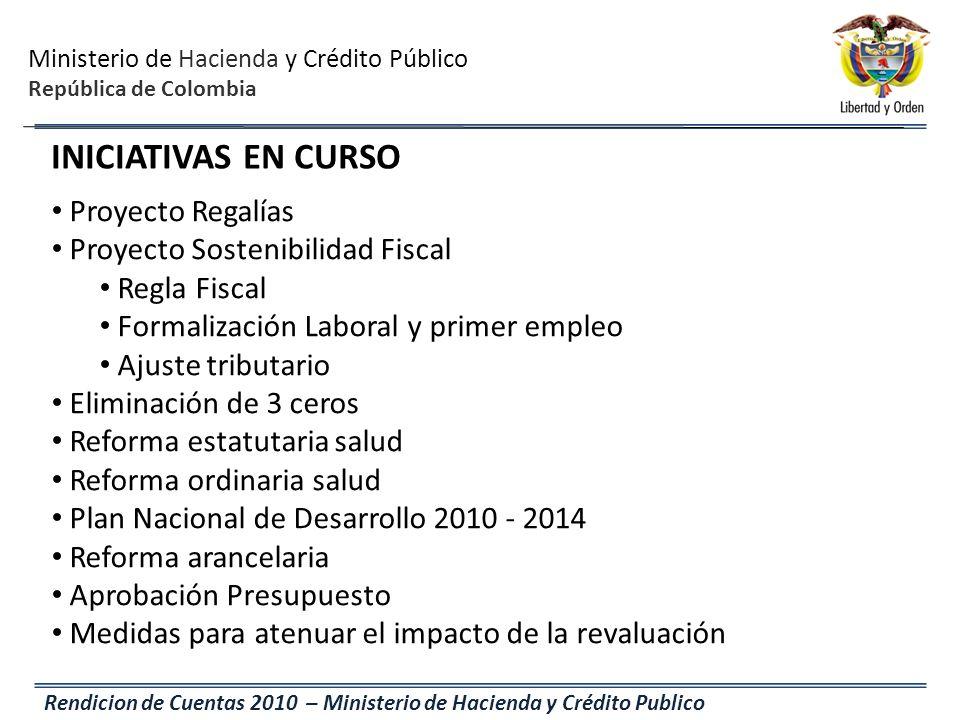 Ministerio de Hacienda y Crédito Público República de Colombia Rendicion de Cuentas 2010 – Ministerio de Hacienda y Crédito Publico Proyecto Regalías