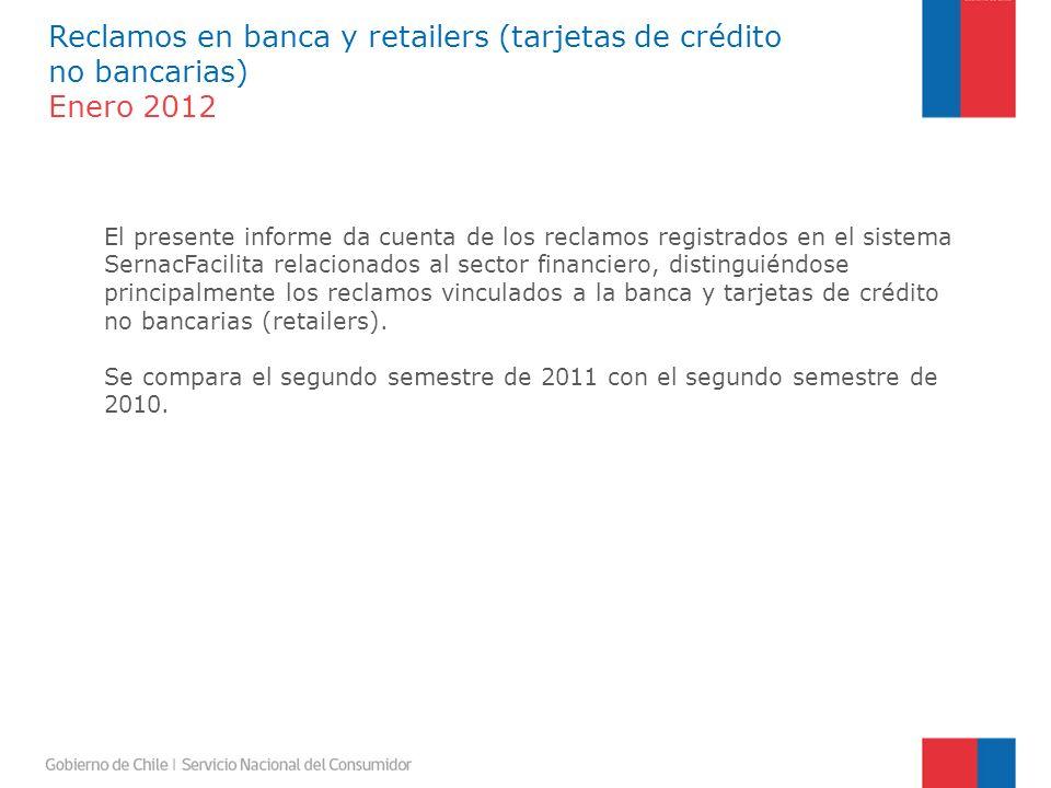 Reclamos en banca y retailers (tarjetas de crédito no bancarias) Enero 2012 Los reclamos efectuados por los consumidores contra el sector financiero, se elevaron en el segundo semestre de 2011 respecto de igual lapso de tiempo de 2010, desde 20.110 casos a 49.692, lo que representó un alza de 147%.