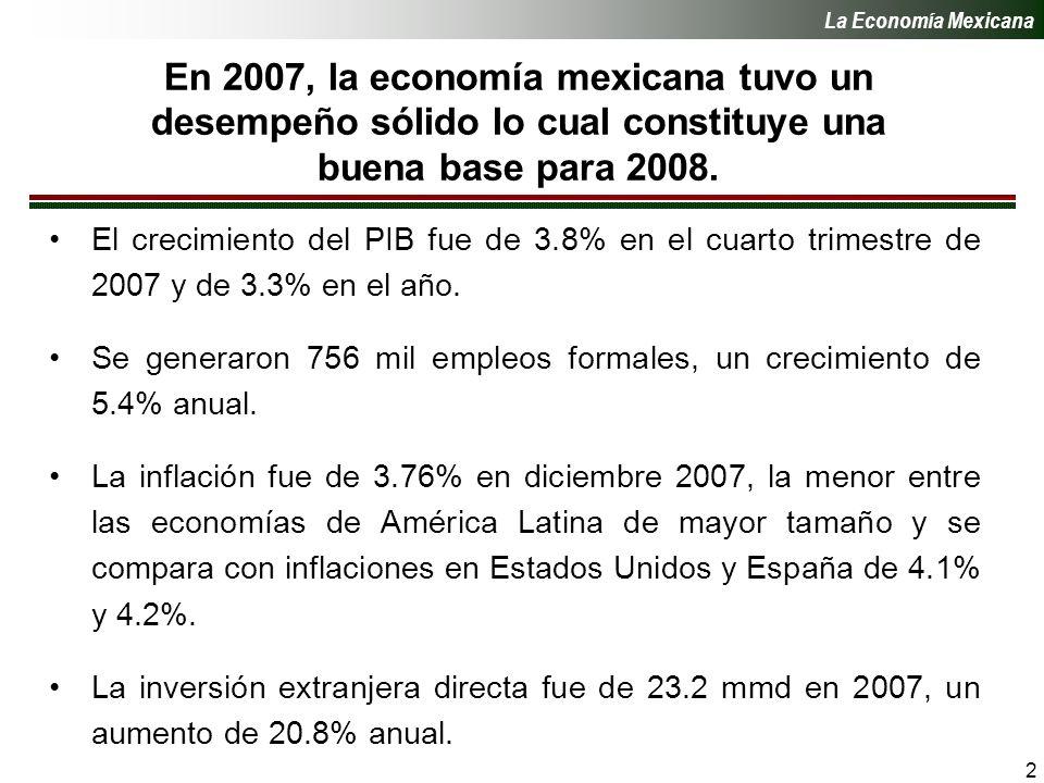 2 En 2007, la economía mexicana tuvo un desempeño sólido lo cual constituye una buena base para 2008.