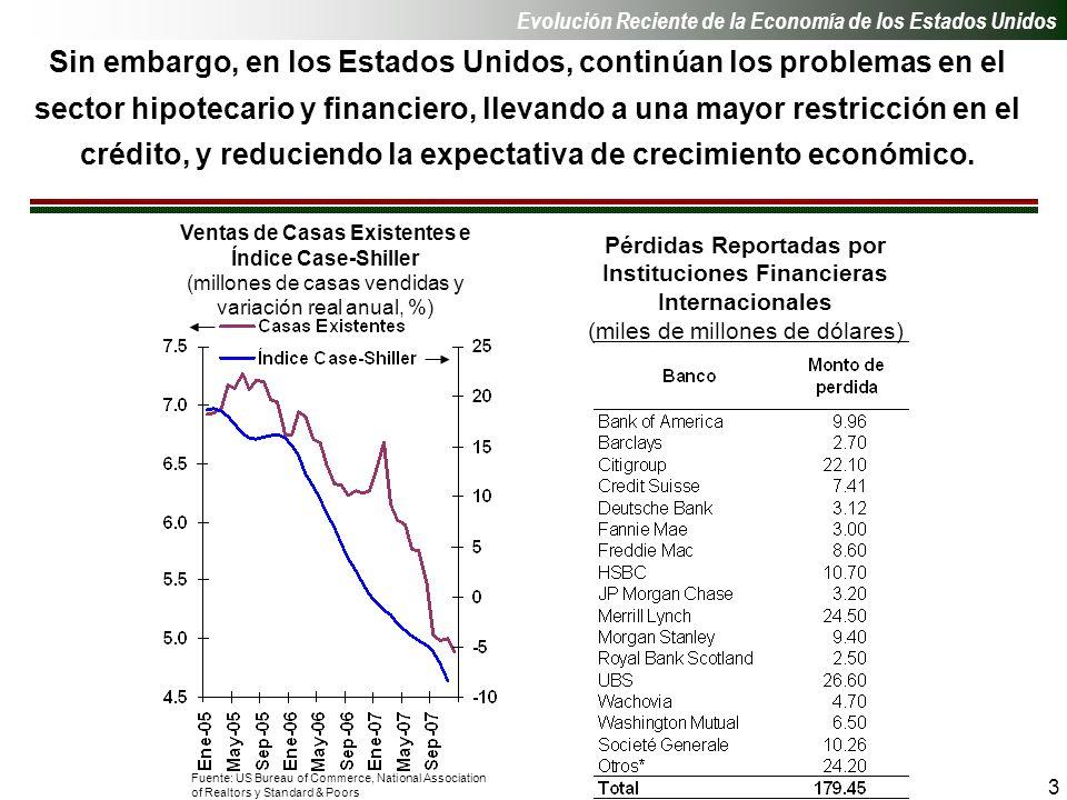 3 Sin embargo, en los Estados Unidos, continúan los problemas en el sector hipotecario y financiero, llevando a una mayor restricción en el crédito, y reduciendo la expectativa de crecimiento económico.