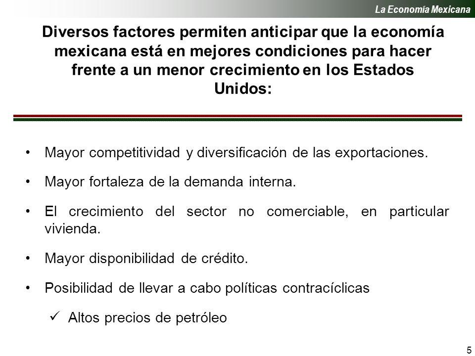 5 Diversos factores permiten anticipar que la economía mexicana está en mejores condiciones para hacer frente a un menor crecimiento en los Estados Unidos: Mayor competitividad y diversificación de las exportaciones.