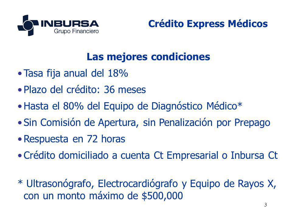 3 Las mejores condiciones Tasa fija anual del 18% Plazo del crédito: 36 meses Hasta el 80% del Equipo de Diagnóstico Médico* Sin Comisión de Apertura,