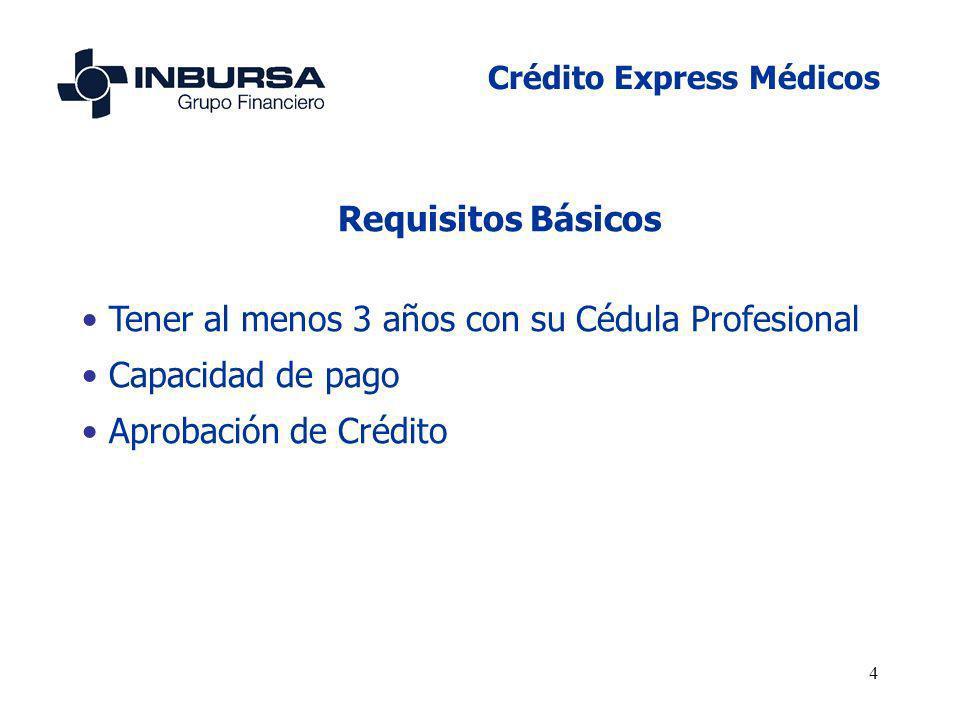 4 Requisitos Básicos Tener al menos 3 años con su Cédula Profesional Capacidad de pago Aprobación de Crédito Crédito Express Médicos