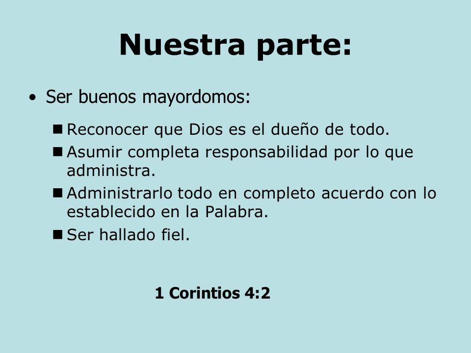 El es el dueño. Salmo 24:1 El tiene el control. Salmo 135:6 El provee para nuestras necesidades. Filipenses 4:19 La Parte de Dios: