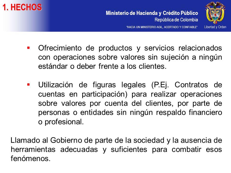 Ministerio de Hacienda y Crédito Público República de Colombia HACIA UN MINISTERIO AGIL, ACERTADO Y CONFIABLE Ofrecimiento de productos y servicios relacionados con operaciones sobre valores sin sujeción a ningún estándar o deber frente a los clientes.