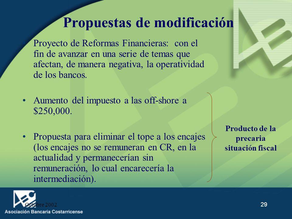 Octubre 200229 Propuestas de modificación Proyecto de Reformas Financieras: con el fin de avanzar en una serie de temas que afectan, de manera negativ