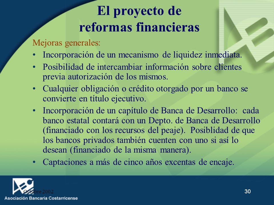Octubre 200230 El proyecto de reformas financieras Mejoras generales: Incorporación de un mecanismo de liquidez inmediata. Posibilidad de intercambiar