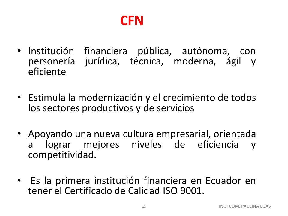 Institución financiera pública, autónoma, con personería jurídica, técnica, moderna, ágil y eficiente Estimula la modernización y el crecimiento de to