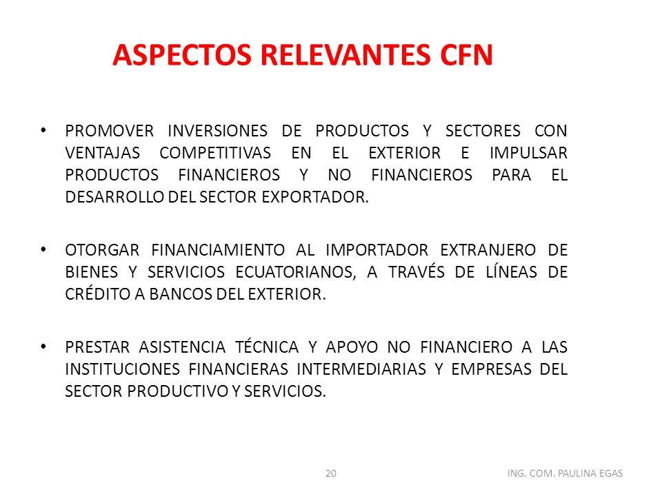 PROMOVER INVERSIONES DE PRODUCTOS Y SECTORES CON VENTAJAS COMPETITIVAS EN EL EXTERIOR E IMPULSAR PRODUCTOS FINANCIEROS Y NO FINANCIEROS PARA EL DESARR