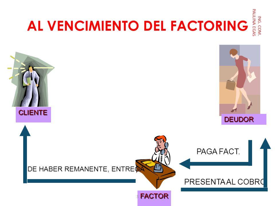 AL VENCIMIENTO DEL FACTORING ING. COM. PAULINA EGASCLIENTE FACTOR DEUDOR PRESENTA AL COBRO PAGA FACT. DE HABER REMANENTE, ENTREGA 3