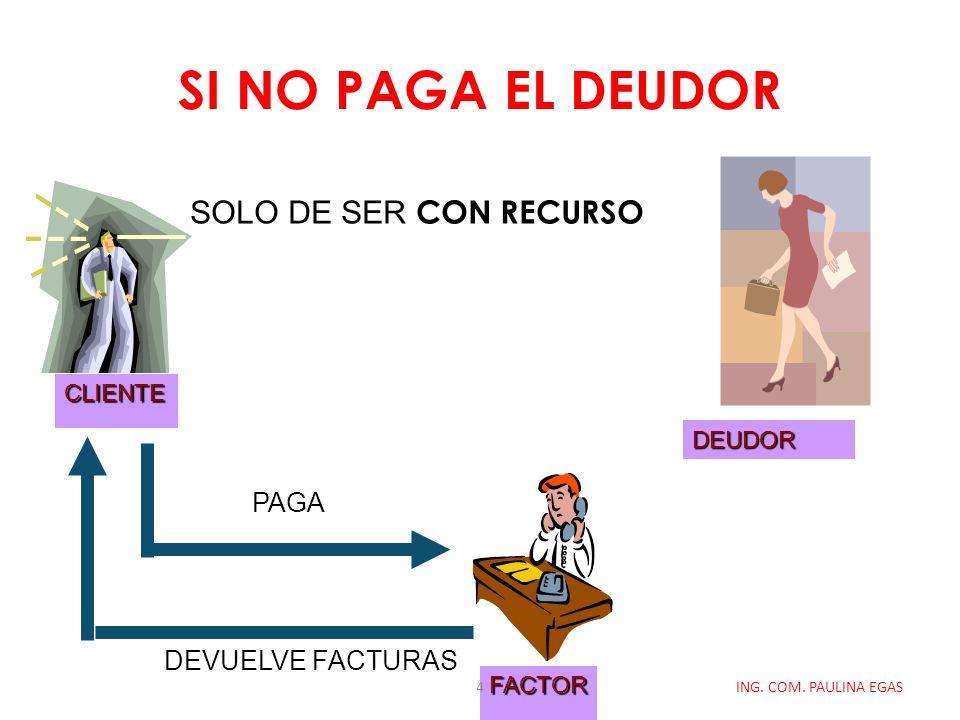 SI NO PAGA EL DEUDOR ING. COM. PAULINA EGAS CLIENTE FACTOR DEUDOR DEVUELVE FACTURAS PAGA SOLO DE SER CON RECURSO 4