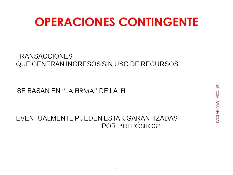OPERACIONES CONTINGENTE ING. COM. PAULINA EGAS TRANSACCIONES QUE GENERAN INGRESOS SIN USO DE RECURSOS SE BASAN EN LA FIRMA DE LA IFI EVENTUALMENTE PUE