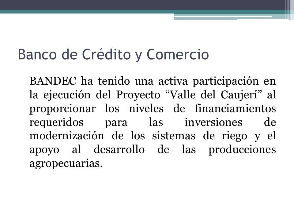 BANDEC ha tenido una activa participación en la ejecución del Proyecto Valle del Caujerí al proporcionar los niveles de financiamientos requeridos para las inversiones de modernización de los sistemas de riego y el apoyo al desarrollo de las producciones agropecuarias.