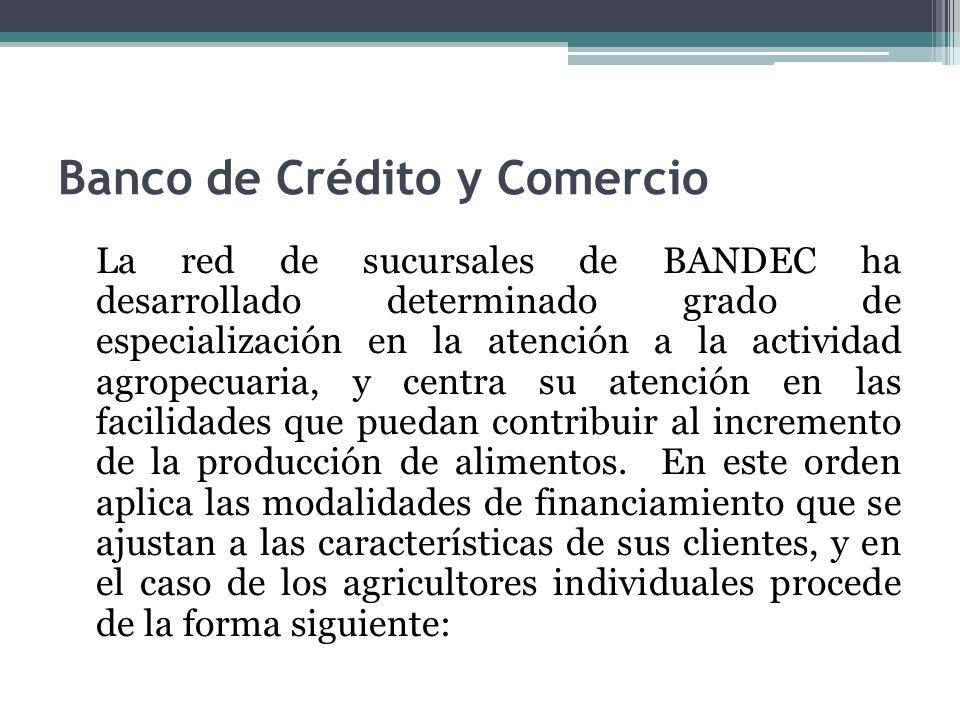 Banco de Crédito y Comercio La red de sucursales de BANDEC ha desarrollado determinado grado de especialización en la atención a la actividad agropecuaria, y centra su atención en las facilidades que puedan contribuir al incremento de la producción de alimentos.