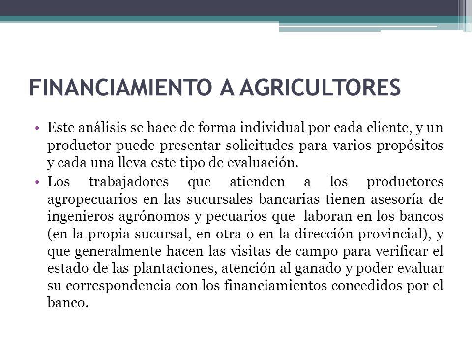 FINANCIAMIENTO A AGRICULTORES Este análisis se hace de forma individual por cada cliente, y un productor puede presentar solicitudes para varios propósitos y cada una lleva este tipo de evaluación.