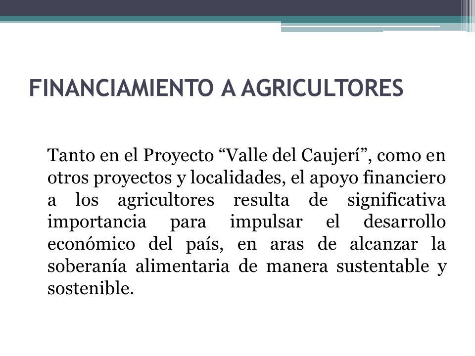 FINANCIAMIENTO A AGRICULTORES Tanto en el Proyecto Valle del Caujerí, como en otros proyectos y localidades, el apoyo financiero a los agricultores resulta de significativa importancia para impulsar el desarrollo económico del país, en aras de alcanzar la soberanía alimentaria de manera sustentable y sostenible.
