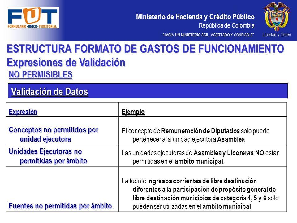 Ministerio de Hacienda y Crédito Público República de Colombia HACIA UN MINISTERIO ÁGIL, ACERTADO Y CONFIABLE Validación de Datos NO PERMISIBLES ESTRU