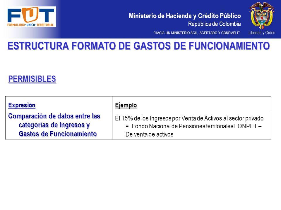 Ministerio de Hacienda y Crédito Público República de Colombia HACIA UN MINISTERIO ÁGIL, ACERTADO Y CONFIABLE PERMISIBLES ESTRUCTURA FORMATO DE GASTOS