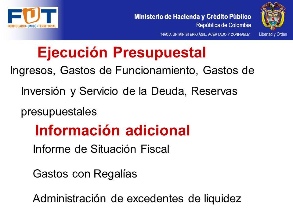 Ministerio de Hacienda y Crédito Público República de Colombia HACIA UN MINISTERIO ÁGIL, ACERTADO Y CONFIABLE CATEGORÍA GASTOS DE INVERSIÓN RESGUARDOS INDÍGENAS FORMULARIOS VERIFICACIÓN DEL ARTÍCULO 83 DE LA LEY 715 DE 2001 EJECUCIÓN DE RECURSOS DE LA ASIGNACIÓN ESPECIAL DEL SGP PARA RESGUARDOS INDÍGENAS EJECUCIÓN DE GASTOS DE INVERSIÓN CON OTRAS FUENTES DE FINANCIACIÓN