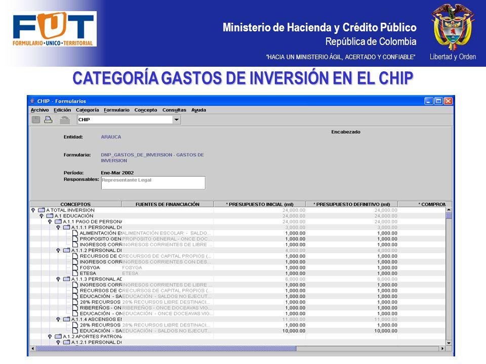 Ministerio de Hacienda y Crédito Público República de Colombia HACIA UN MINISTERIO ÁGIL, ACERTADO Y CONFIABLE CATEGORÍA GASTOS DE INVERSIÓN EN EL CHIP
