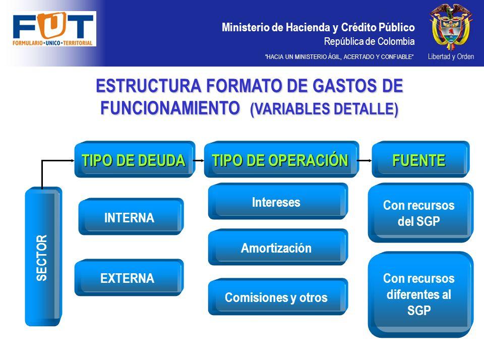 Ministerio de Hacienda y Crédito Público República de Colombia HACIA UN MINISTERIO ÁGIL, ACERTADO Y CONFIABLE INTERNAEXTERNAInteresesAmortizaciónComisiones y otros SECTOR TIPO DE DEUDA TIPO DE OPERACIÓN FUENTE Con recursos del SGP Con recursos diferentes al SGP ESTRUCTURA FORMATO DE GASTOS DE FUNCIONAMIENTO (VARIABLES DETALLE)