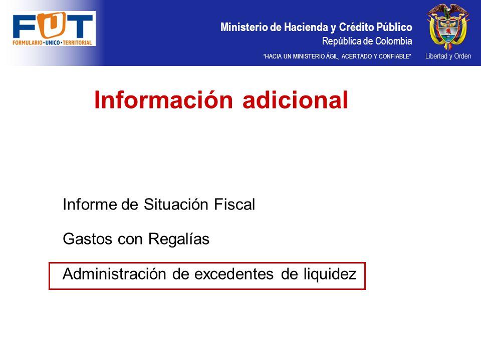 Ministerio de Hacienda y Crédito Público República de Colombia HACIA UN MINISTERIO ÁGIL, ACERTADO Y CONFIABLE Información adicional Informe de Situación Fiscal Gastos con Regalías Administración de excedentes de liquidez