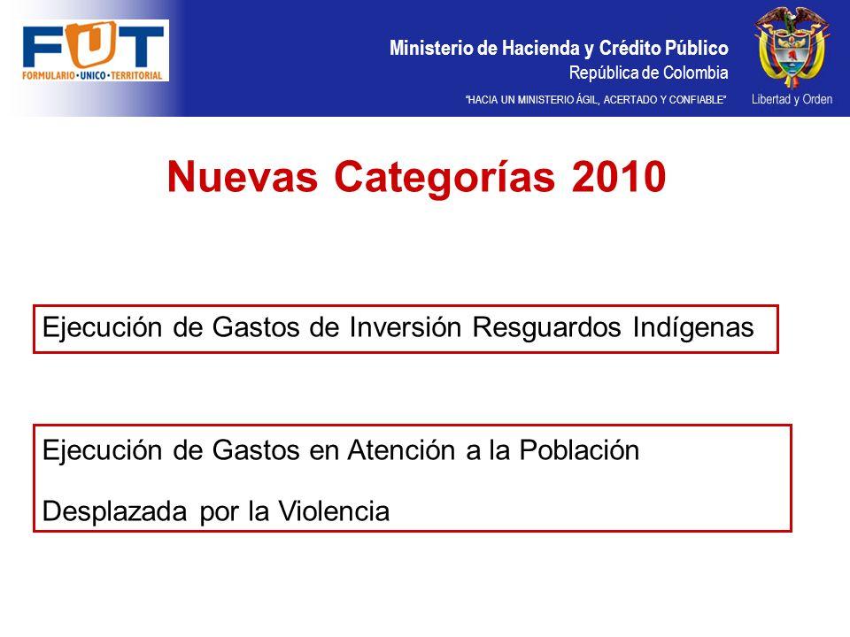 Ministerio de Hacienda y Crédito Público República de Colombia HACIA UN MINISTERIO ÁGIL, ACERTADO Y CONFIABLE Nuevas Categorías 2010 Ejecución de Gastos de Inversión Resguardos Indígenas Ejecución de Gastos en Atención a la Población Desplazada por la Violencia