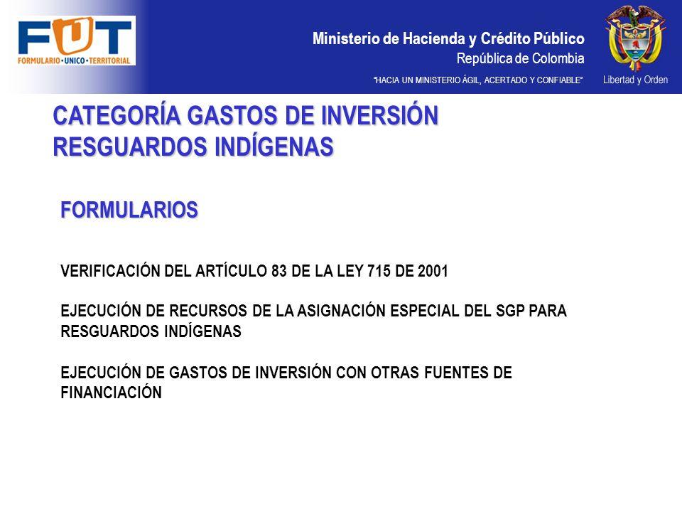 Ministerio de Hacienda y Crédito Público República de Colombia HACIA UN MINISTERIO ÁGIL, ACERTADO Y CONFIABLE CATEGORÍA GASTOS DE INVERSIÓN RESGUARDOS