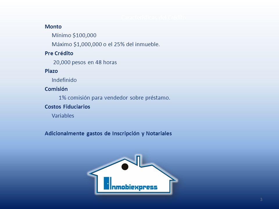 Características del Crédito Monto Mínimo $100,000 Máximo $1,000,000 o el 25% del inmueble.