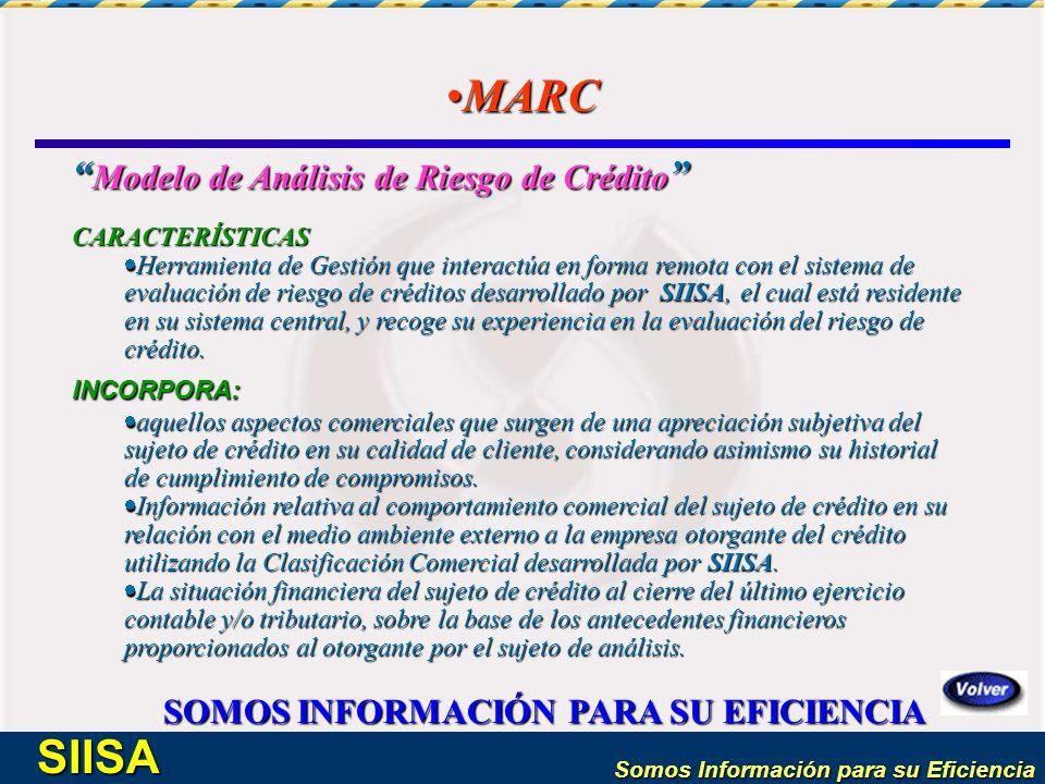 Somos Información para su Eficiencia SIISA MARCMARC Modelo de Análisis de Riesgo de Crédito Modelo de Análisis de Riesgo de Crédito CARACTERÍSTICAS He