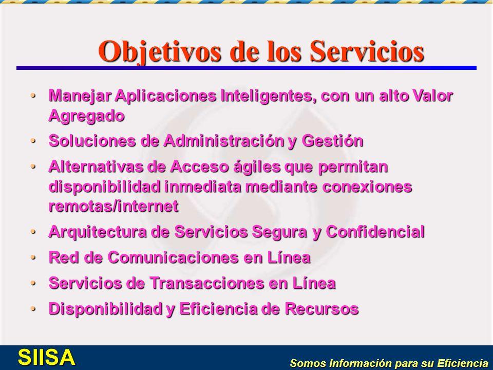 Somos Información para su Eficiencia SIISA Objetivos de los Servicios Manejar Aplicaciones Inteligentes, con un alto Valor AgregadoManejar Aplicacione