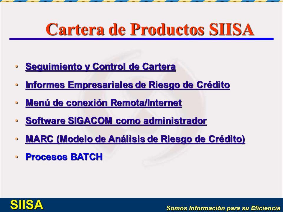 Somos Información para su Eficiencia SIISA Cartera de Productos SIISA Seguimiento y Control de CarteraSeguimiento y Control de CarteraSeguimiento y Co