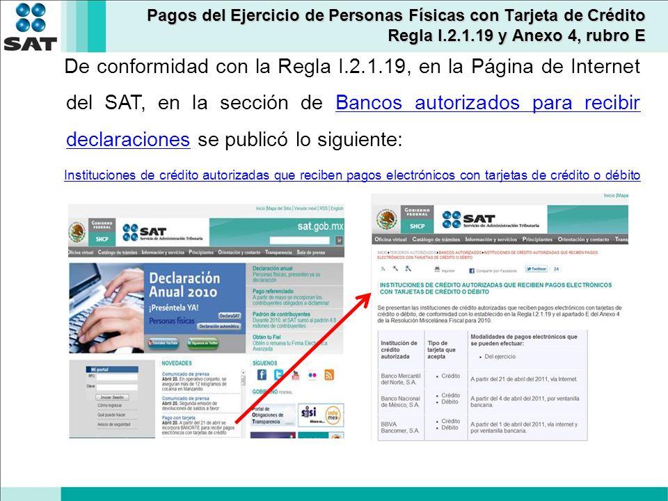 De conformidad con la Regla I.2.1.19, en la Página de Internet del SAT, en la sección de Bancos autorizados para recibir declaraciones se publicó lo s