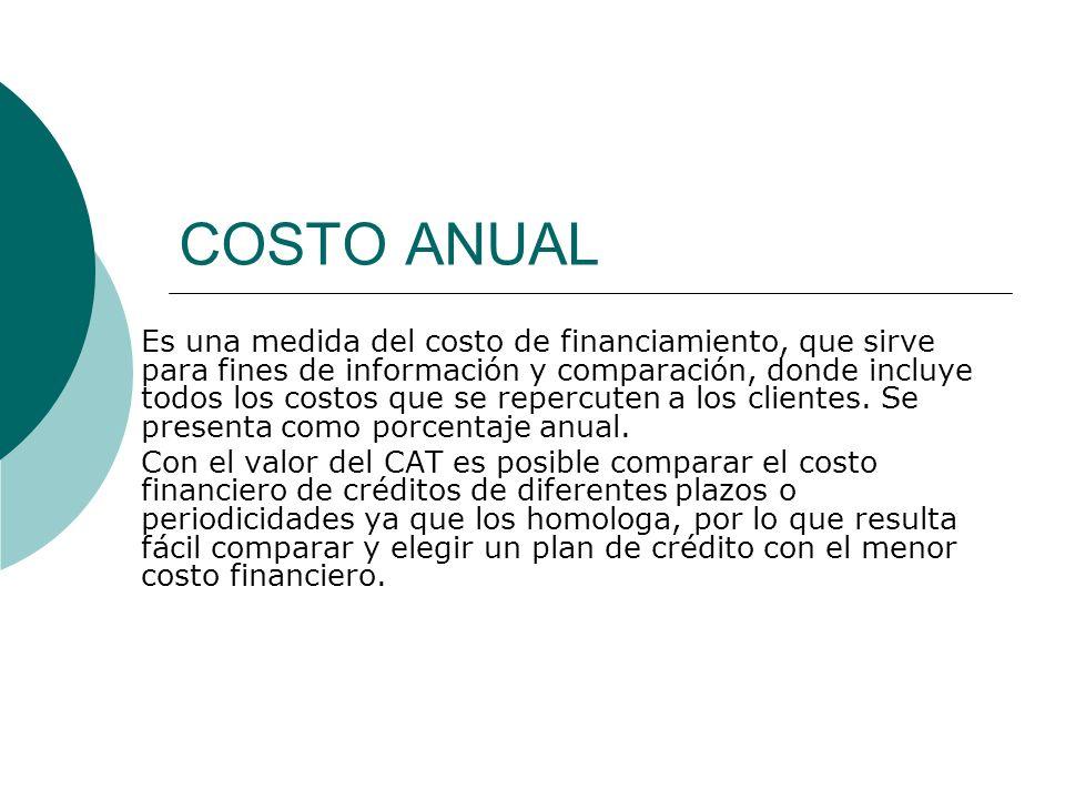COSTO ANUAL Es una medida del costo de financiamiento, que sirve para fines de información y comparación, donde incluye todos los costos que se reperc
