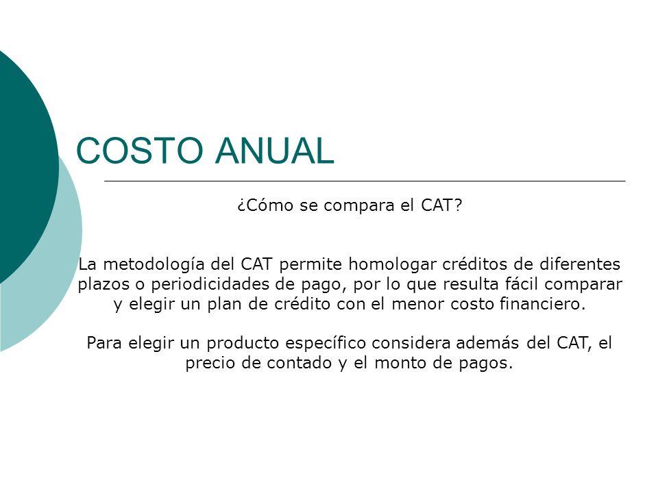 COSTO ANUAL ¿Cómo se compara el CAT? La metodología del CAT permite homologar créditos de diferentes plazos o periodicidades de pago, por lo que resul