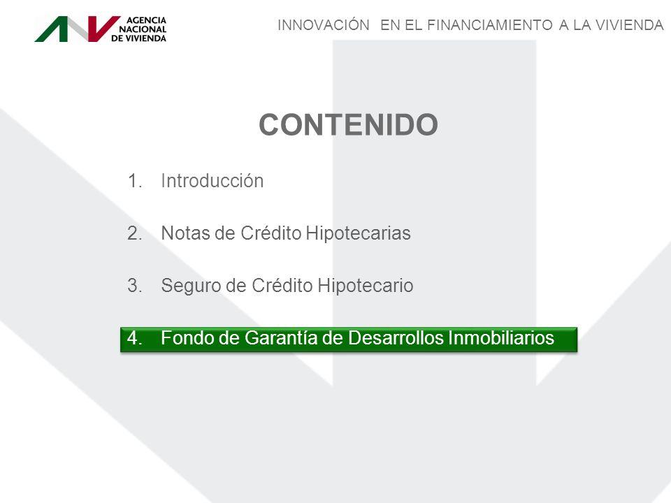 2.Notas de Crédito Hipotecarias CONTENIDO 3.Seguro de Crédito Hipotecario 4.Fondo de Garantía de Desarrollos Inmobiliarios 1.Introducción INNOVACIÓN EN EL FINANCIAMIENTO A LA VIVIENDA