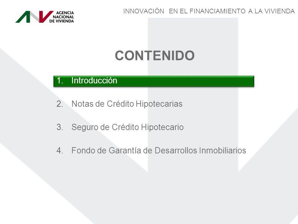 INNOVACIÓN EN EL FINANCIAMIENTO A LA VIVIENDA 2.Notas de Crédito Hipotecarias CONTENIDO 3.Seguro de Crédito Hipotecario 4.Fondo de Garantía de Desarrollos Inmobiliarios 1.Introducción