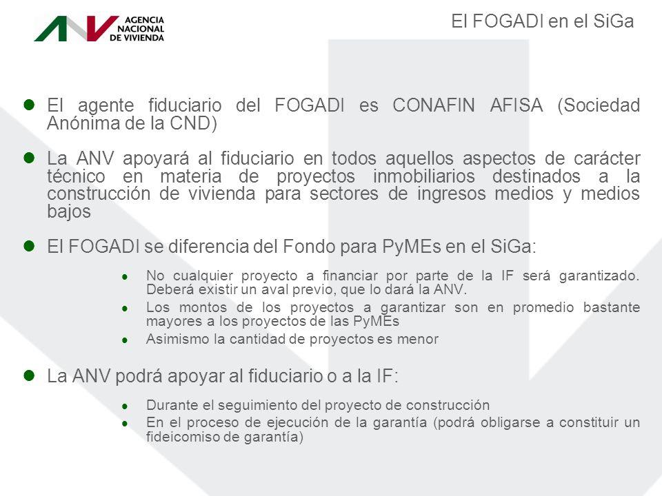 El FOGADI en el SiGa El agente fiduciario del FOGADI es CONAFIN AFISA (Sociedad Anónima de la CND) La ANV apoyará al fiduciario en todos aquellos aspectos de carácter técnico en materia de proyectos inmobiliarios destinados a la construcción de vivienda para sectores de ingresos medios y medios bajos El FOGADI se diferencia del Fondo para PyMEs en el SiGa: No cualquier proyecto a financiar por parte de la IF será garantizado.
