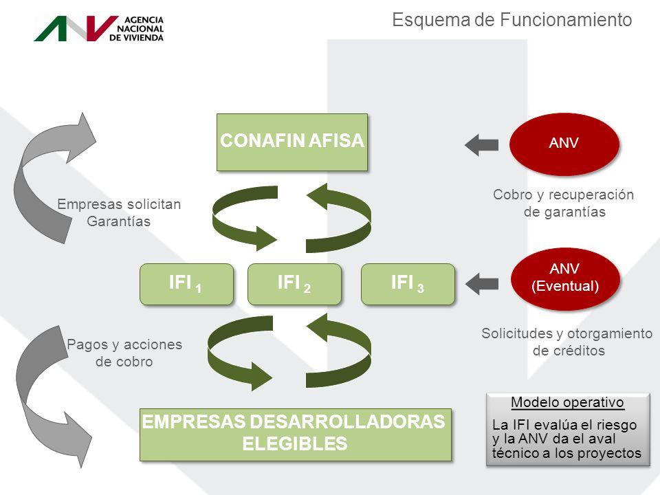 Esquema de Funcionamiento CONAFIN AFISA IFI 2 EMPRESAS DESARROLLADORAS ELEGIBLES EMPRESAS DESARROLLADORAS ELEGIBLES Solicitudes y otorgamiento de créditos Pagos y acciones de cobro Cobro y recuperación de garantías Empresas solicitan Garantías IFI 3 IFI 1 ANV (Eventual) ANV (Eventual) Modelo operativo La IFI evalúa el riesgo y la ANV da el aval técnico a los proyectos Modelo operativo La IFI evalúa el riesgo y la ANV da el aval técnico a los proyectos ANV