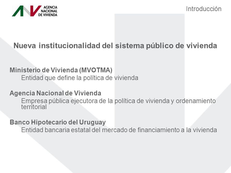 Nueva institucionalidad del sistema público de vivienda Ministerio de Vivienda (MVOTMA) Entidad que define la política de vivienda Agencia Nacional de Vivienda Empresa pública ejecutora de la política de vivienda y ordenamiento territorial Banco Hipotecario del Uruguay Entidad bancaria estatal del mercado de financiamiento a la vivienda Introducción