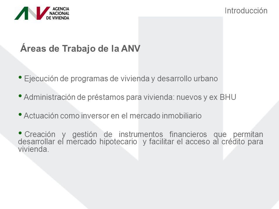 Áreas de Trabajo de la ANV Ejecución de programas de vivienda y desarrollo urbano Administración de préstamos para vivienda: nuevos y ex BHU Actuación como inversor en el mercado inmobiliario Creación y gestión de instrumentos financieros que permitan desarrollar el mercado hipotecario y facilitar el acceso al crédito para vivienda.