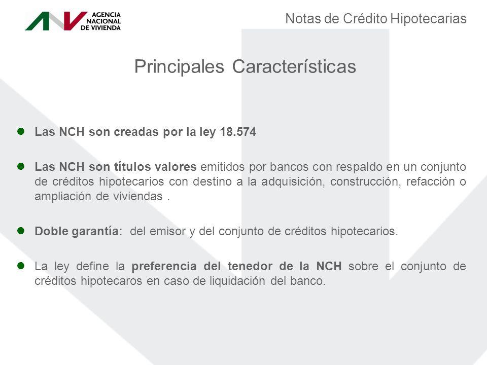 Las NCH son creadas por la ley 18.574 Las NCH son títulos valores emitidos por bancos con respaldo en un conjunto de créditos hipotecarios con destino a la adquisición, construcción, refacción o ampliación de viviendas.
