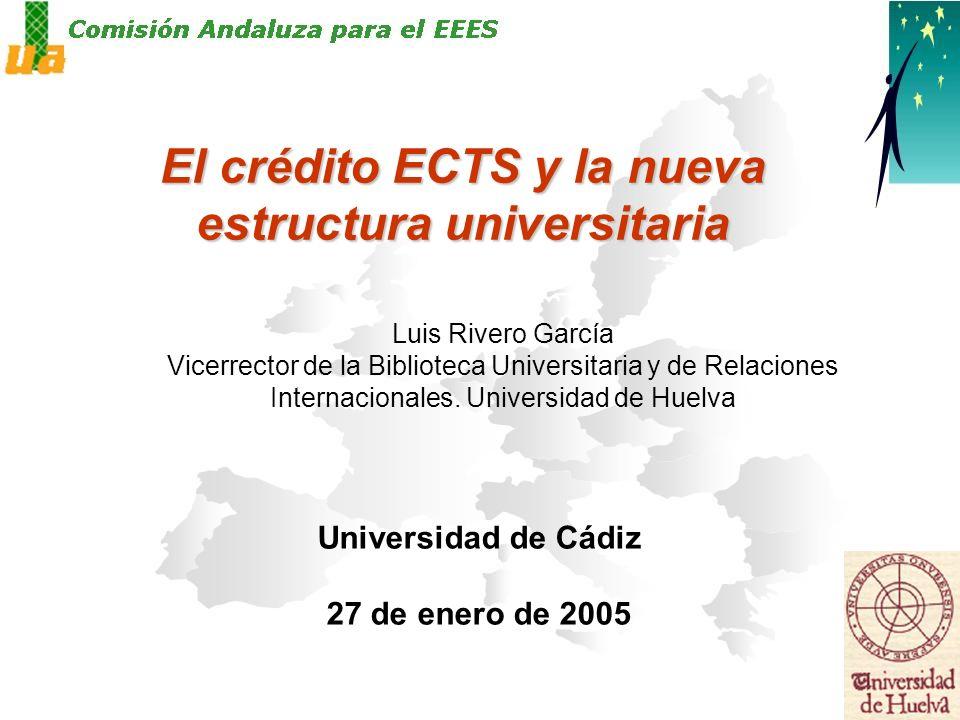 El crédito ECTS y la nueva estructura universitaria Universidad de Cádiz 27 de enero de 2005 Luis Rivero García Vicerrector de la Biblioteca Universitaria y de Relaciones Internacionales.
