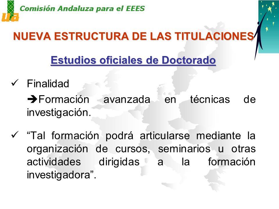 NUEVA ESTRUCTURA DE LAS TITULACIONES Estudios oficiales de Doctorado Finalidad Formación avanzada en técnicas de investigación.