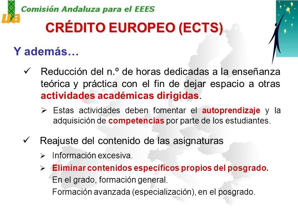 CRÉDITO EUROPEO (ECTS) Y además… Reducción del n.º de horas dedicadas a la enseñanza teórica y práctica con el fin de dejar espacio a otras actividades académicas dirigidas.