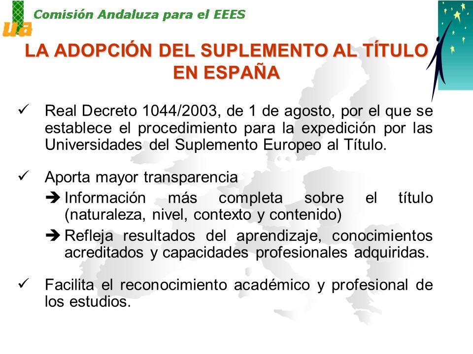 LA ADOPCIÓN DEL SUPLEMENTO AL TÍTULO EN ESPAÑA Real Decreto 1044/2003, de 1 de agosto, por el que se establece el procedimiento para la expedición por las Universidades del Suplemento Europeo al Título.