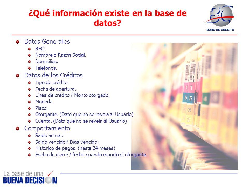 ¿Qué información existe en la base de datos? Datos Generales RFC. Nombre o Razón Social. Domicilios. Teléfonos. Datos de los Créditos Tipo de crédito.