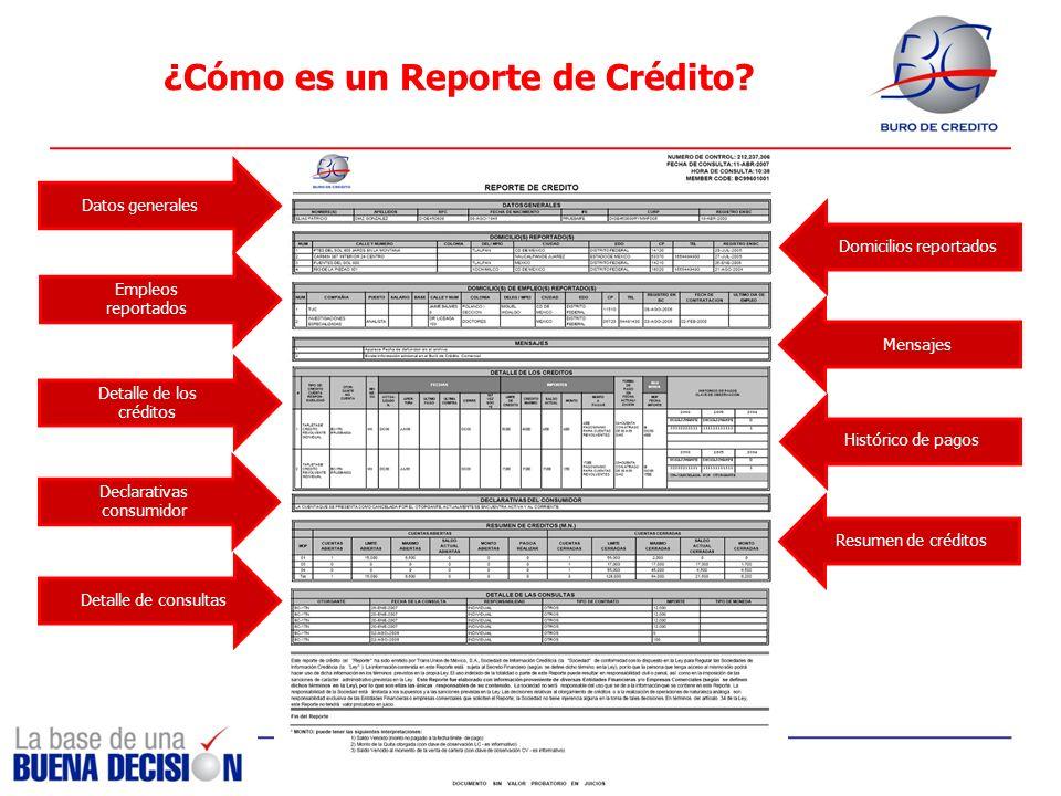 ¿Cómo es un Reporte de Crédito? Datos generales Empleos reportados Domicilios reportados Resumen de créditos Mensajes Detalle de los créditos Detalle